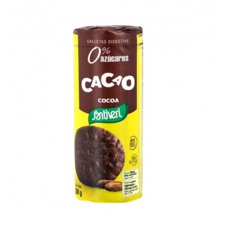 Пълнозърнести Какаови бисквити Диджестив, без добавена захар и яйца 200г, Santiveri