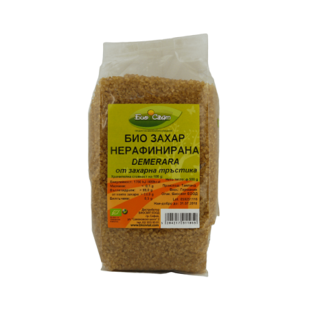 Био нерафинирана тръстикова захар Demerara-500гр.