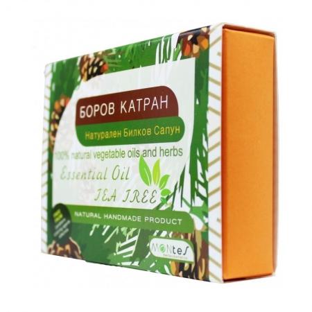 Натурален Билков Сапун - Боров Катран с етерично масло Чаено Дърво